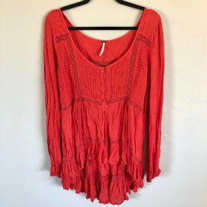 Free People UO High Low Lacy Button Tunic Top